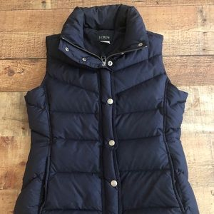 J. Crew Down Filled Puffer Vest Navy Blue Size XS